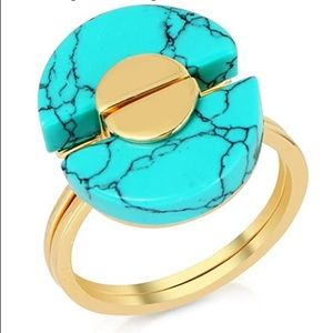 NWT Turquoise Yellow Gold Overlay Ring